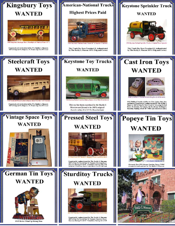 Buying Antique Toys Free Toy Appraisals Buddy L Museum buying Early American Toys Buddy L Trucks Buddy L Cars Buddy L Trains Geman Tin Toys Vintage Space Toys, buying vintage toys,  Free Vintage Toy Appraisals Buddy L Truck Value Guide Buddy L Toys Identification Guide Informationh