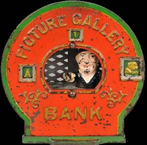 antique mechanical banks, picture gallery bank, uncle same mechanical bank, clown on globe mechanical banks Buddy L Museum world's largest buyer of antique mechanical banks